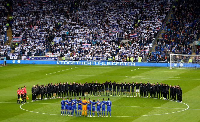 Leicester's players and staff huddling together before the win at Cardiff to remember Vichai Srivaddhanaprabha was one of the most emotional moments of the season