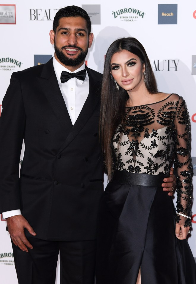 Amir Khan and his wife Faryal Makhdoom at The Beauty Awards in London in November 2018