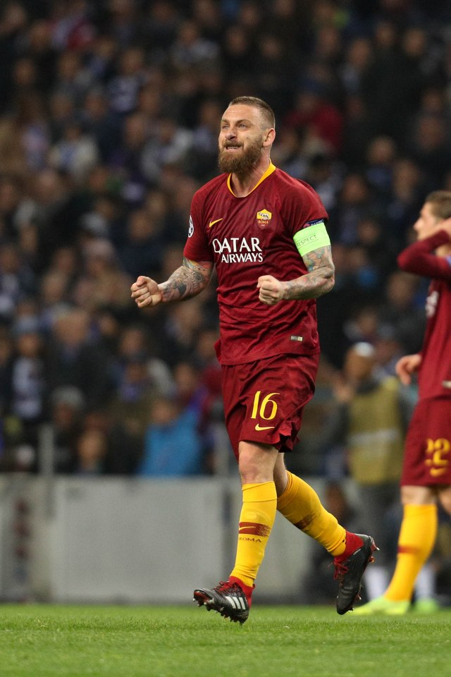 De Rossi has appeared 615 times for the Serie A giants