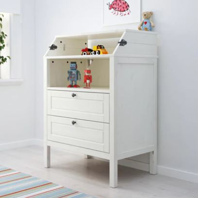 Ikea says if you use the included safety fitting, using the changing table is 'Safe for your baby and peace of mind for you'