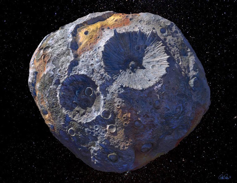 An artist's impression of Psyche 16, an asteroid with enough gold in it to make everyone on Earth a billionaire
