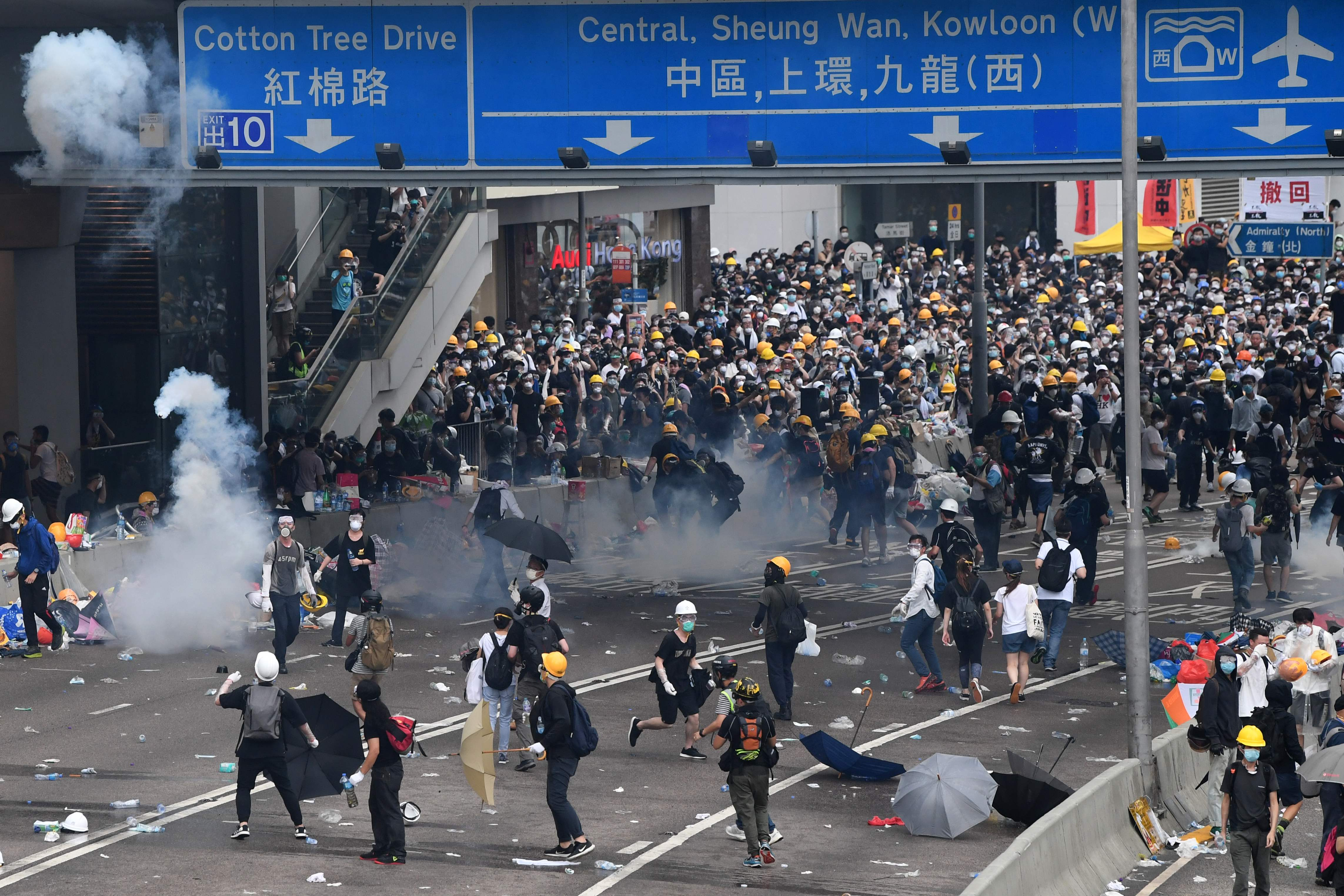 Pitched battles hit the streets as tear gas and rubber bullets flew through the air