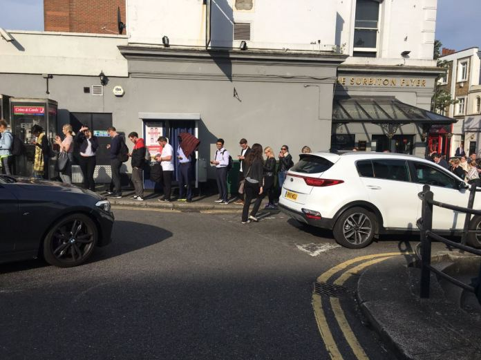 The queue went up around the corner and up the high street as commuting struggled to travel to work