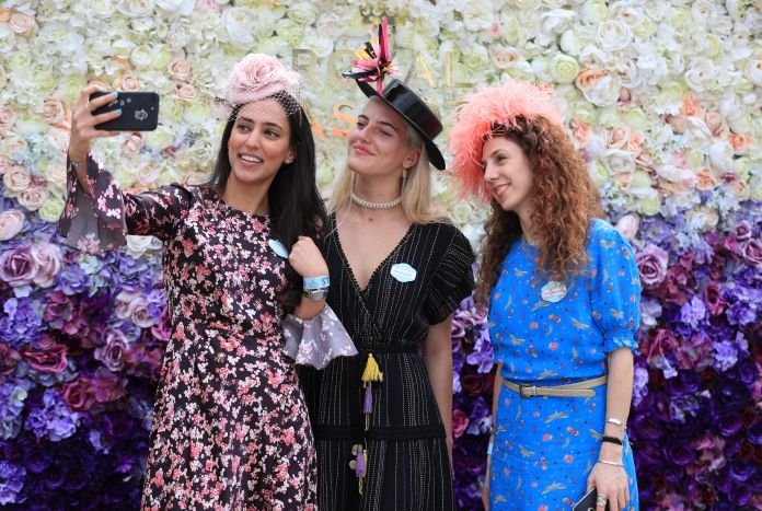 Race goers take a selfie on day one of Royal Ascot
