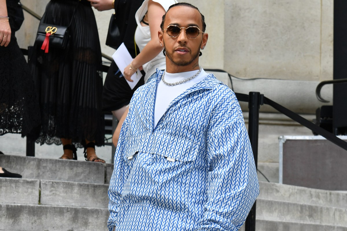 F1 ace Lewis Hamilton seen in £2,285 outfit…several sizes too big