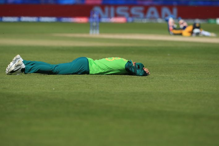 Faf du Plessis made sure to protect his head from stings