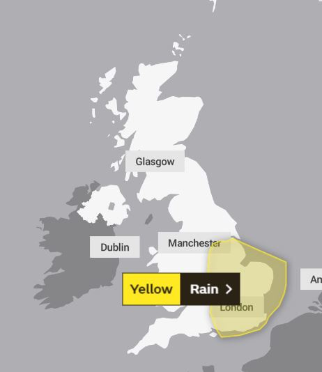 A Yellow 'severe' warning for rain has been issued for southeast England