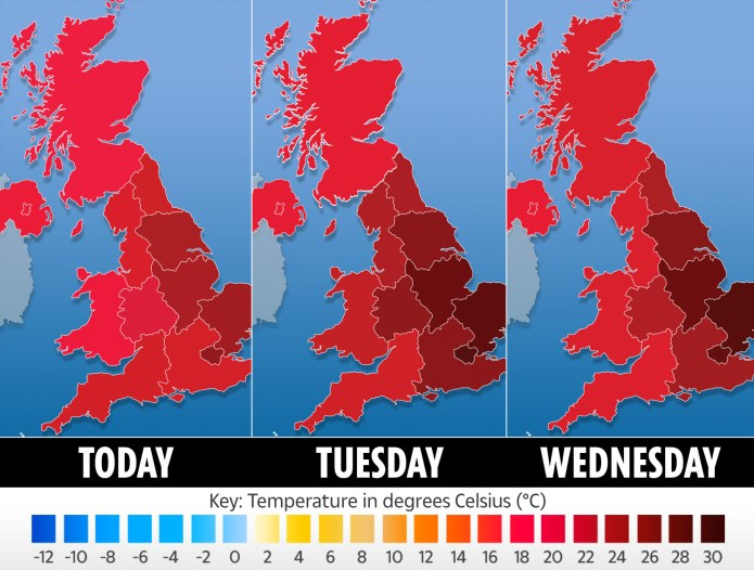 This three-day weather graphic shows temperatures forecacst for today, tomorrow and Wednesday