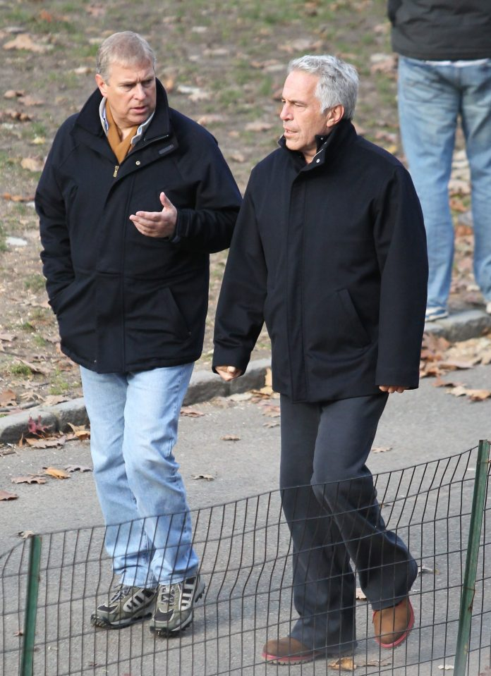 Epstein pictured going for a stroll with Prince Andrew in New York