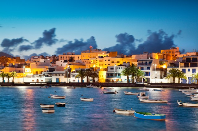 Illuminated houses at Charco de san Gines in the evening, Arrecife, Lanzarote