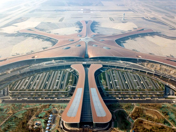 Construction finished at China's new mega airport earlier this month