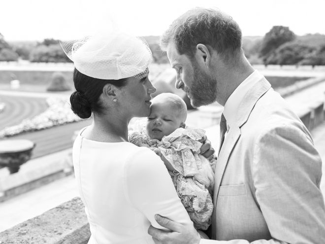The Duke and Duchess of Sussex shared this snap of Archie's christening online