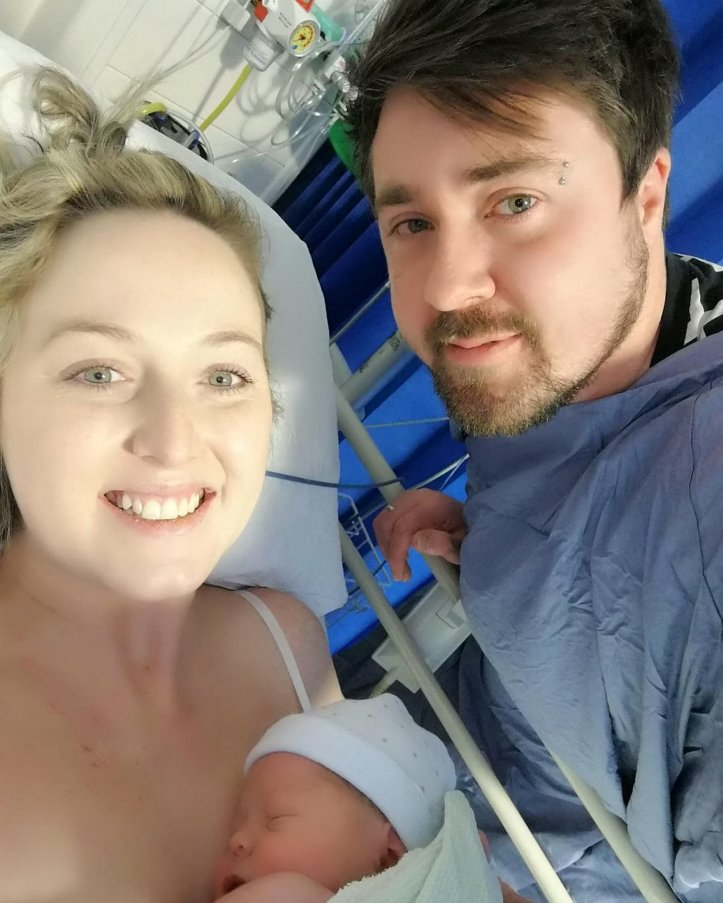 Sarah Boyle with son Louis and husband Steven, 31, who stuck by her throughout the ordeal