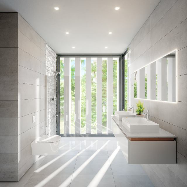 A delux wetroom opens up to the garden without compromising on privacy