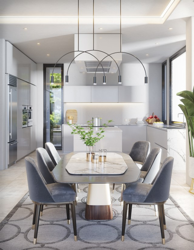 Clean lines, crisp white surfaces and silver grey details continue into the hi-tech kitchen