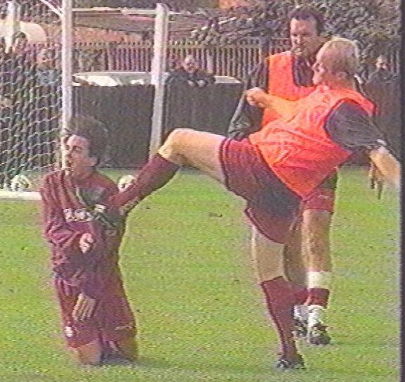 John Hartson booted Eyal Berkovic in the face during a training session tussle