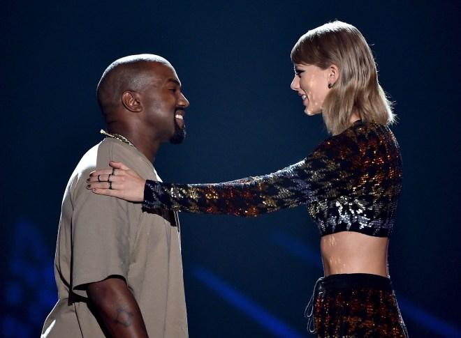 Taylor Swift and Kanye West at the MTV VMAs 2015