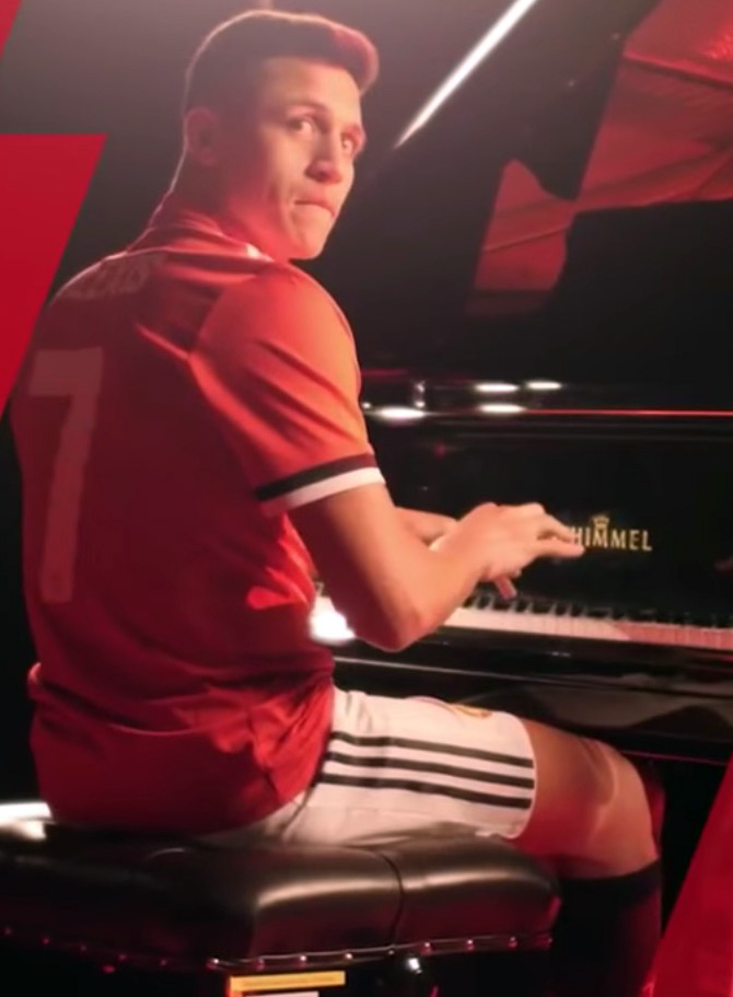Sanchez's United unveiling showed him playing'Glory, glory Man United' on a piano