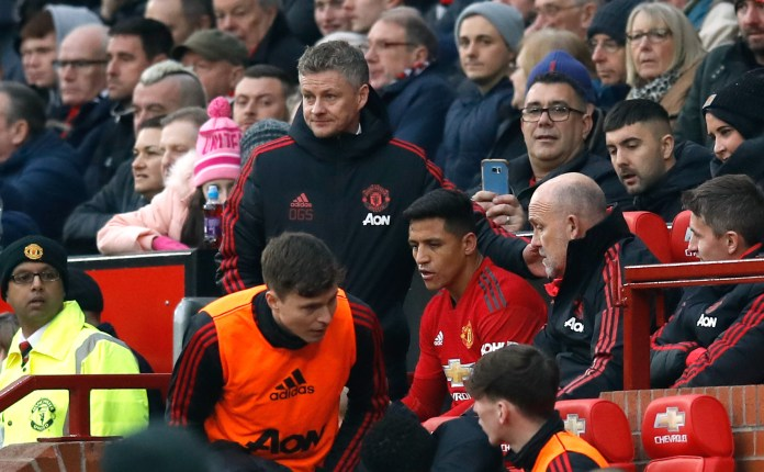 Ole Gunnar Solskjaer had to remove Sanchez from his seat at Old Trafford