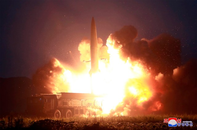 A rocket launched by North Korea last Tuesday. Tonight another two missiles were launched by Kim Jong-un's regime - the sixth test in a month