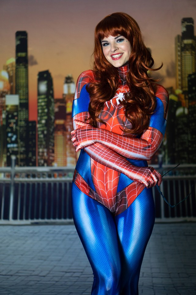 Heidi dresses up at Spider Man in this photoshoot