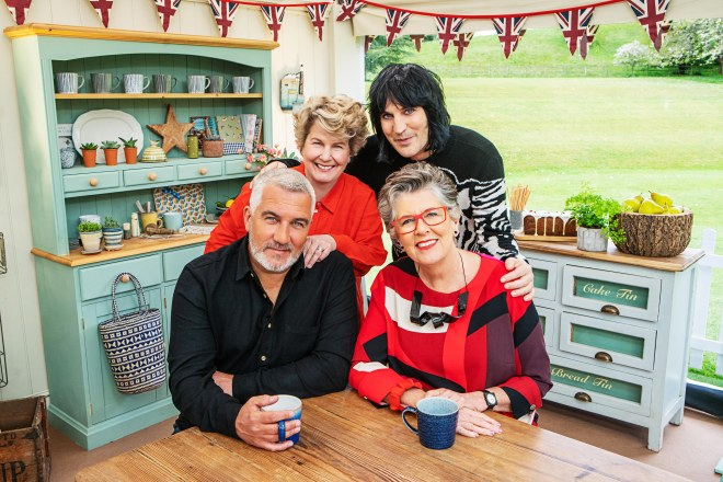The Great British Bake Off judges and presenters, Sandi and Noel with Paul and Prue