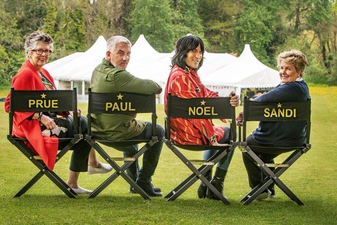 The Great British Bake Off judges and hosts, Prue, Paul, Noel and Sandi, seated on their named chairs