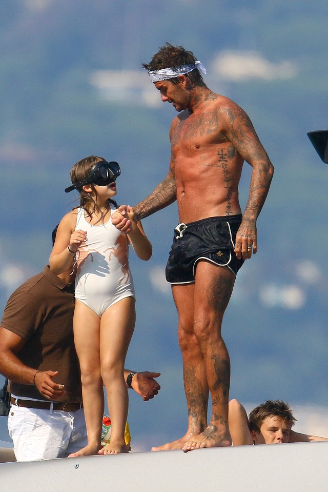 David and Harper prepared to jump into the sea in the south of France
