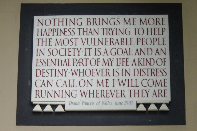 One of Diana's poignant quotes is immortalised on the wall in a plaque