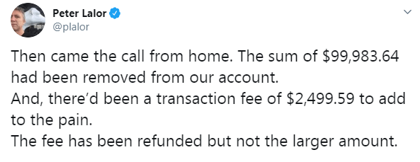 Thousands of pounds had been taken from Peter's account