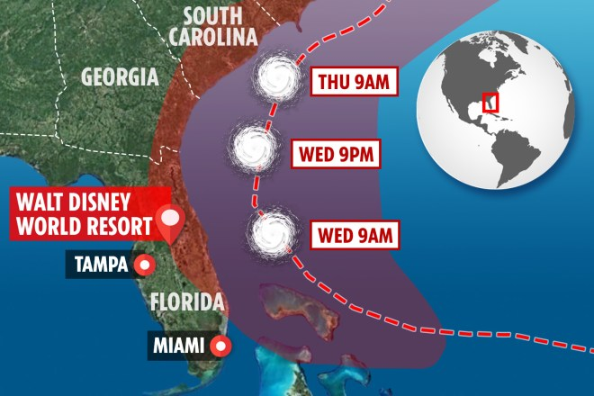 The hurricane is set to batter the US after moving away from the Bahamas