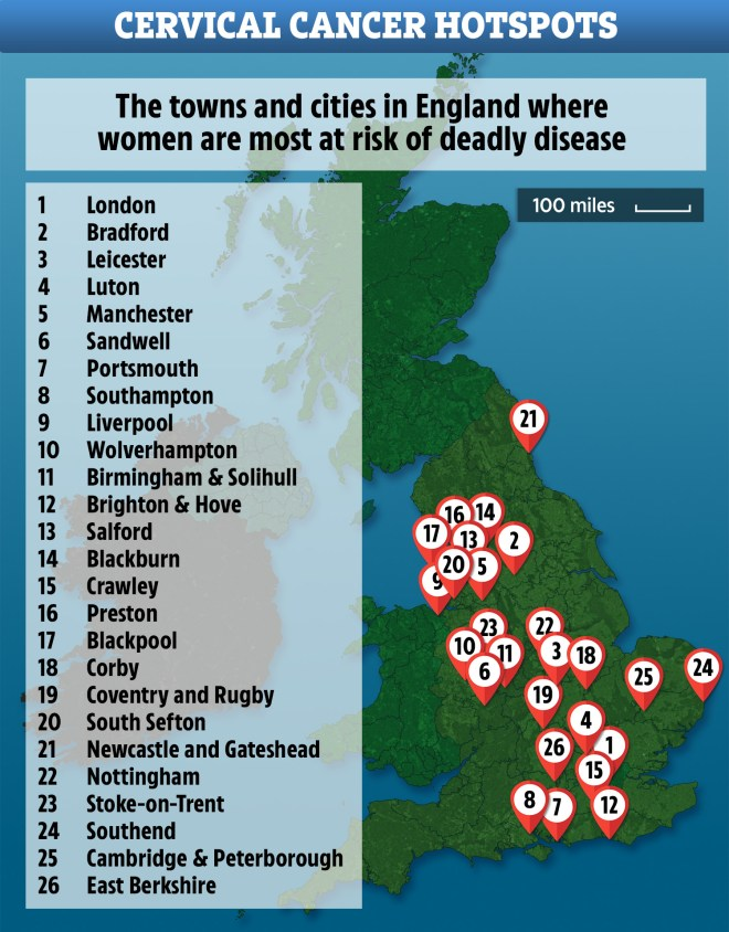This map shows the places in England where cervical cancer screening rates are at their lowest - with London coming out worst