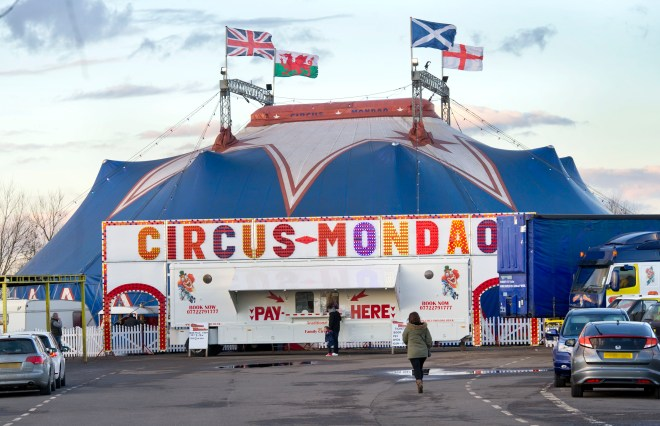 The performer had a lucky escape at Circus Mondao in Silsden, West Yorkshire