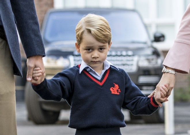 Prince George had appeared shy for his first day of school