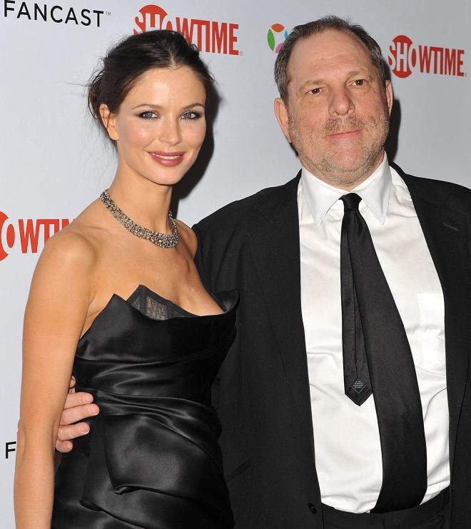 Weinstein went with Georgina Chapman, who designed Princess Beatrices blue and gold taffeta gown