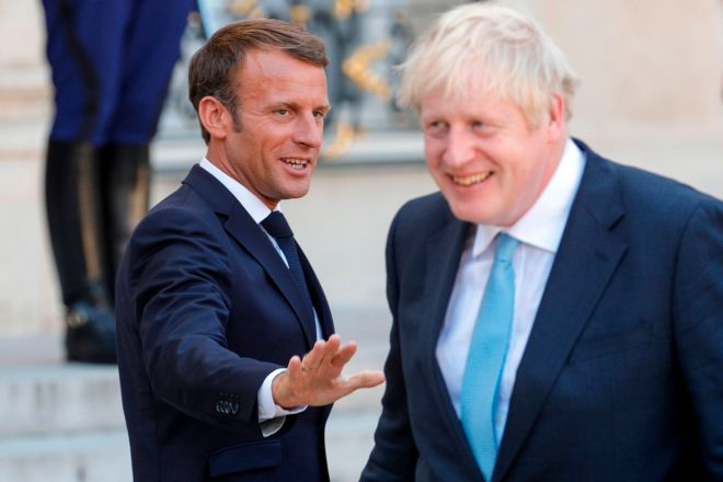 Boris Johnson and French President Emmanuel Macron met in August