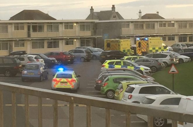 Emergency crews at the Pontins Holiday Park in Prestatyn on Saturday morning