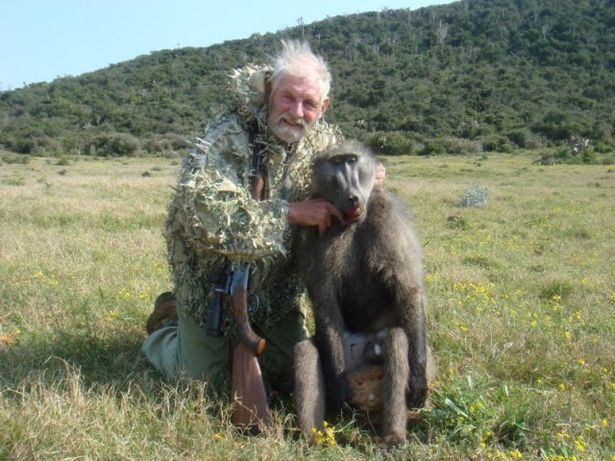 Brit Rodney Fuller with a baboon he killed on an Umlilo Safaris trip