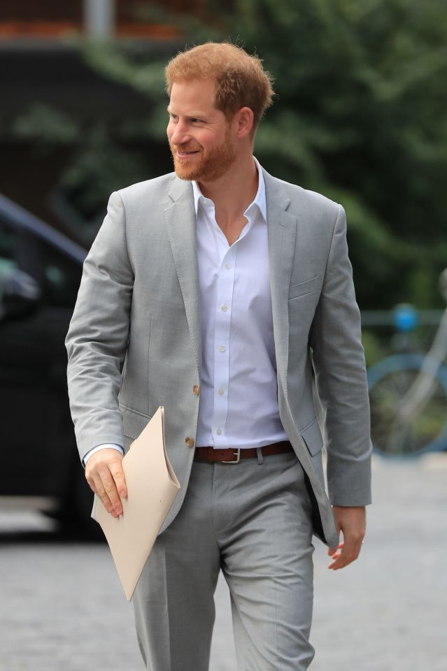 Prince Harry smiles as he arrives in Amsterdam to launch an eco-tourism project