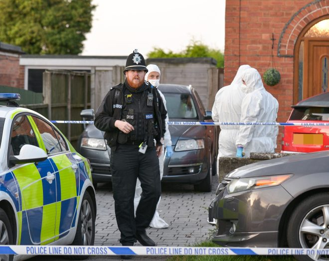 Forensic officers were seen at the home last night