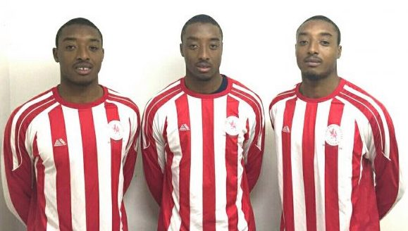 The Gabriel triplets, from left, Ricky, Ralston and Reiss, all played in North London-based Brimsdown FC