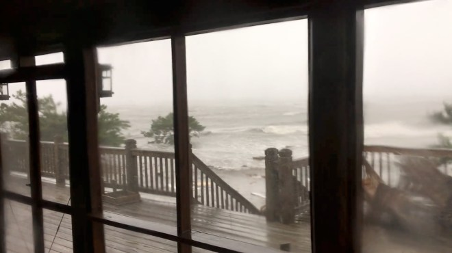 Severe flooding conditions can been seen in Ocracoke Island after Hurricane Dorian landfall