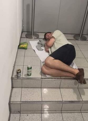 Jack is seen sleeping on the floor after their new flight wasn't booked by Lastminute.com