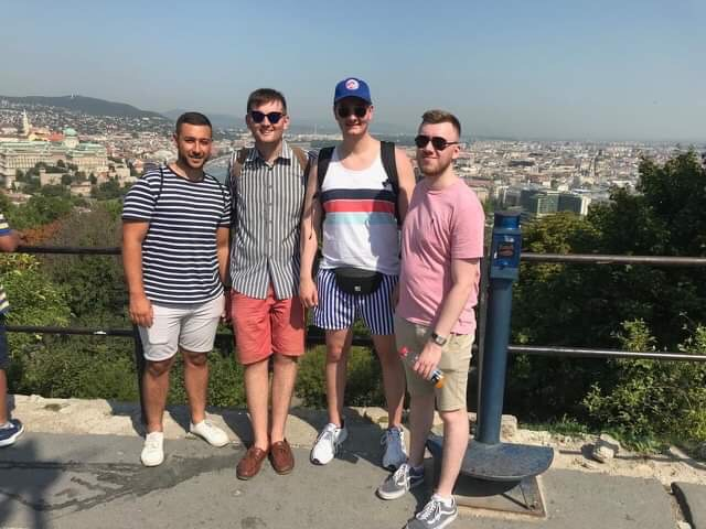 Jack Dixey, second from the left, said he and mates Tim, Hanny and Taylor were left stranded in the Hungarian capital over the mix up