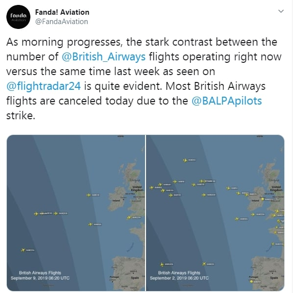Flight radars show the drop in BA planes in the skies due to the strike