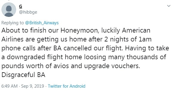 Another said their honeymoon had been made extremely stressful as they were left to organise their own flights home