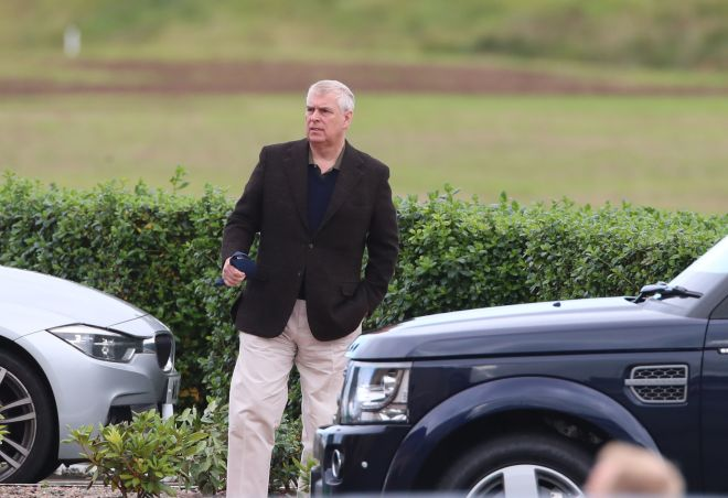 Prince Andrew arrives for the youth golf tournament in Northern Ireland this morning