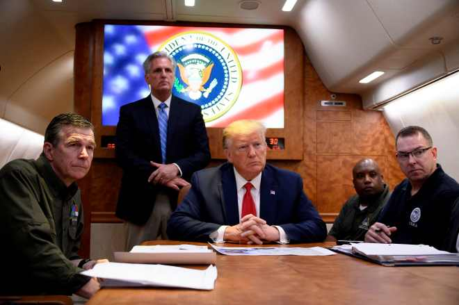 Donald Trump was briefed aboard Air Force One instead