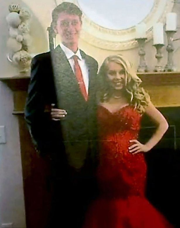 The cheerleader was also photographed just before her school prom