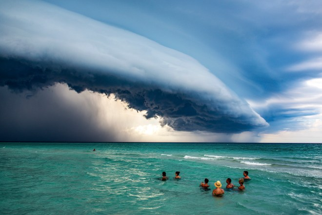 Honourable mention in the people in nature category shows a storm over Varadero in Cuba